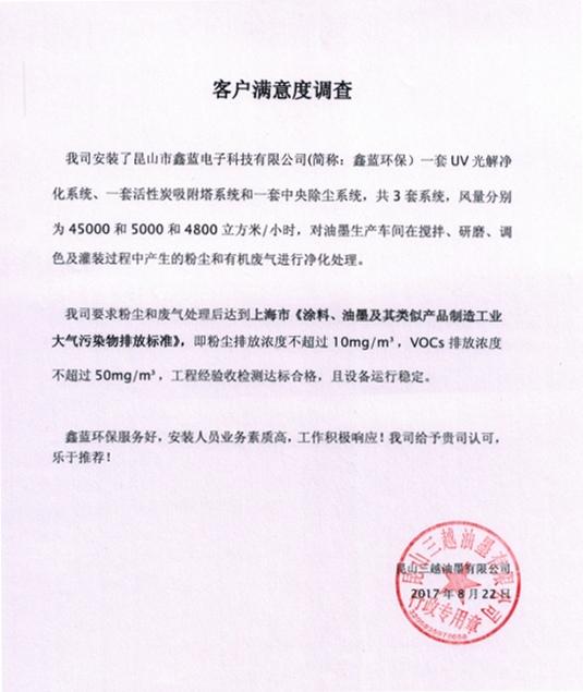 昆山台资油墨厂废气处理项目满意度调查
