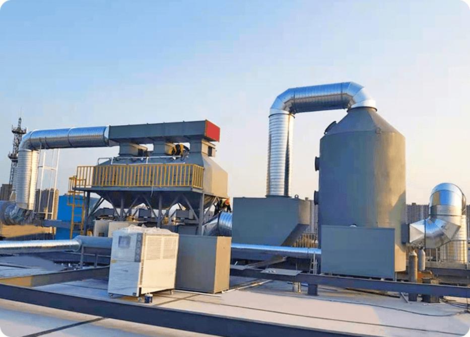 喷漆废气处理:旋流板塔+初效过滤器+活性炭吸附+催化燃烧
