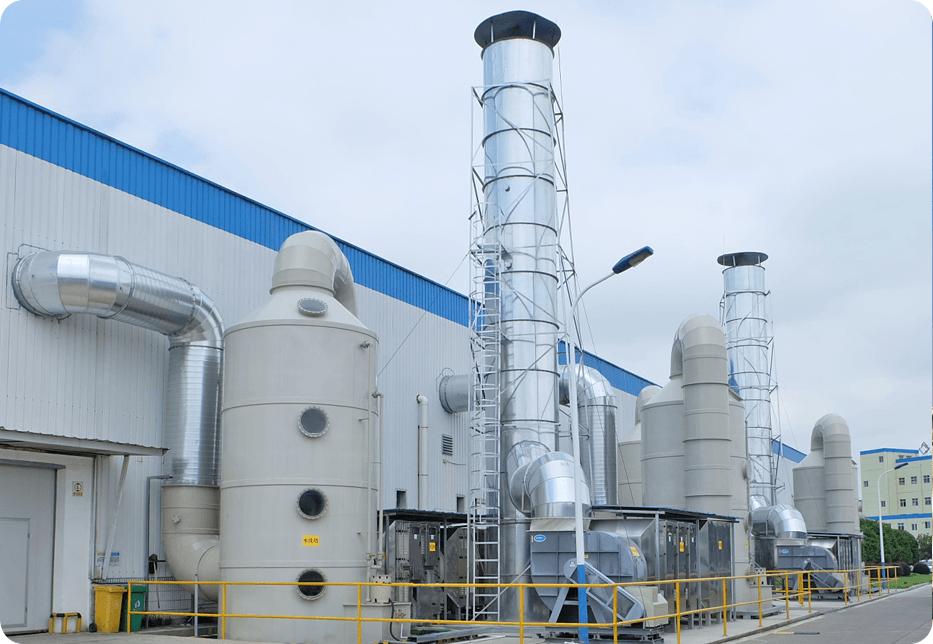 硫化氢废气处理:风罩收集+碱性洗涤塔+风机